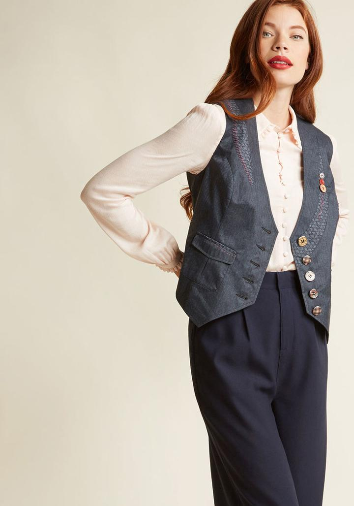 Modcloth Moxie Medley Button-up Vest