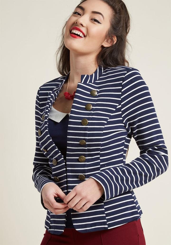 Modcloth Ahoy, Adorable! Knit Blazer In 1x