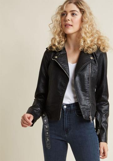 Modcloth Coming Of Edge Vegan Moto Jacket In Black In 2x