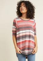 Modcloth Best Of Botanical Knit Top In Sweetheart Stripes In 1x