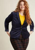Modcloth Velvet Executive Blazer In Navy In 4x