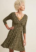 Modcloth Surplice Knit A-line Dress In Forest In 1x