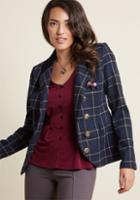 Modcloth Refreshed Professionalism Plaid Blazer In 18 (uk)