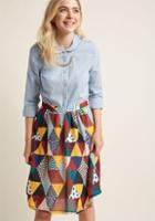 Modcloth Medley In Love A-line Midi Skirt In 4x