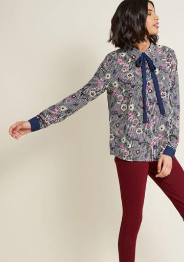 Modcloth Enviable Occupation Button-up Top In Print Mix In 2x