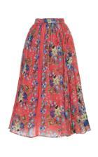 Luisa Beccaria Pleated Floral Print Chiffon Skirt