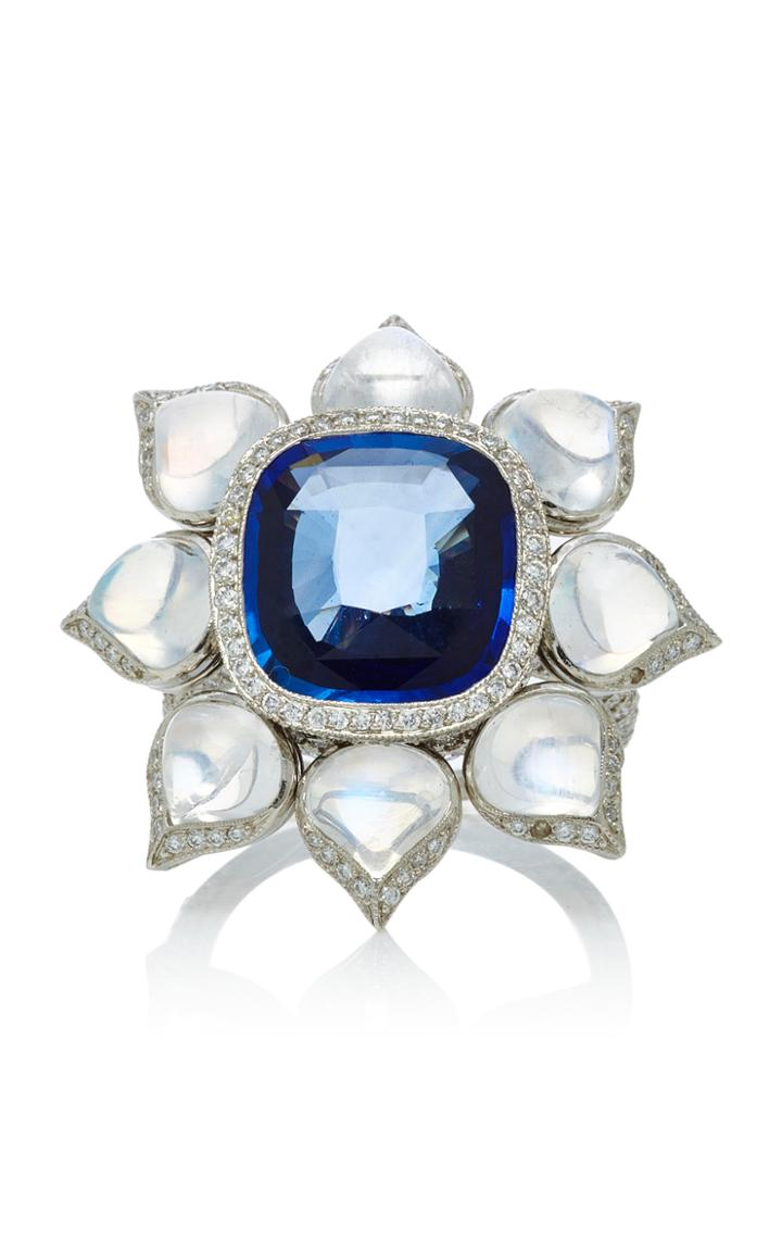 Munnu The Gem Palace One-of-a-kind Sapphire Moonstone And Diamond Flower Ring