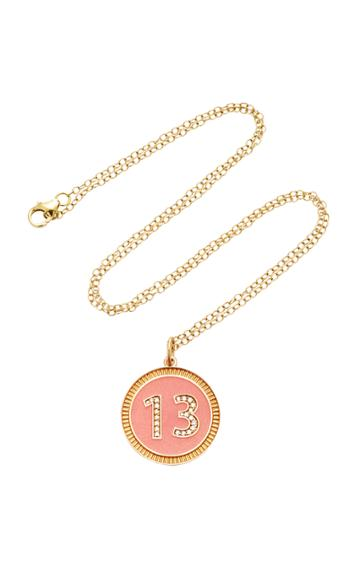Moda Operandi Andrea Fohrman Custom Diamond Number Pink Enamel Necklace