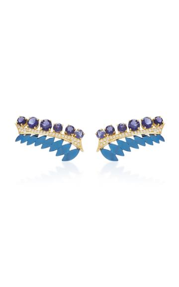 Carol Kauffmann Branch 18k Gold Enamel Lolite And Diamond Clip Earrings