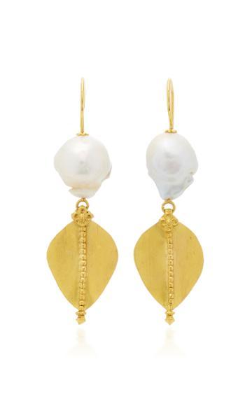 Ranjana Khan Gold Leaf 2 Pearl Earrings
