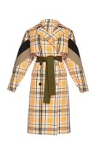 Msgm Plaid Trench Coat