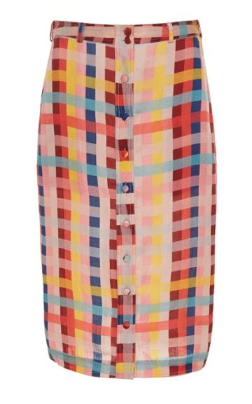 Carolina K Joni Button Front Cotton-blend Skirt