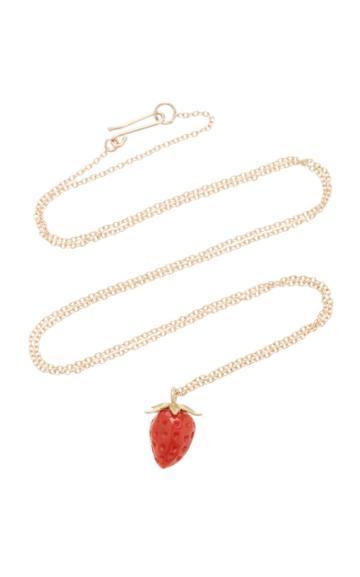 Annette Ferdinandsen Strawberry 18k Gold And Coral Pendant Necklace