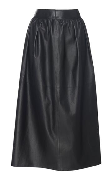 Cyclas Gathered Leather Skirt