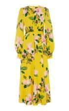 Moda Operandi Andrew Gn Floral Silk Midi Dress