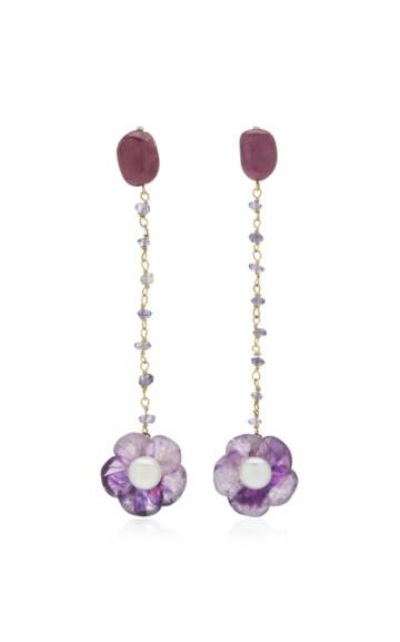 Sorab & Roshi Amethyst Flower 18k Yellow Gold Dangle Earrings