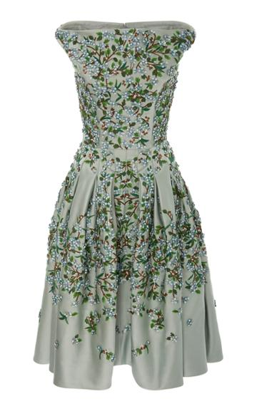 Zac Posen Embroidered Duchess Satin Dress