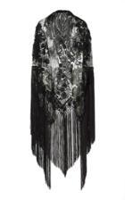 Martha Medeiros Embroidered Shawl With Fringe Trim