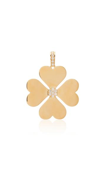 Ashley Mccormick Heart Clover 18k Gold And Diamond Necklace