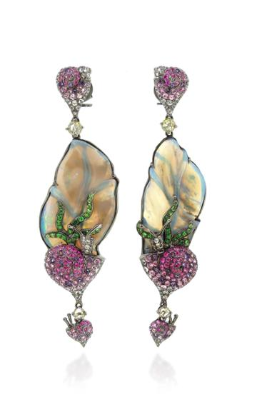 Wendy Yue 18k White Gold, Opal, And White Sapphire Earrings