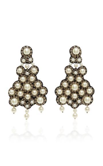 Moda Operandi Erdem Clustered Glass Crystal Embellished Clip On Earrings