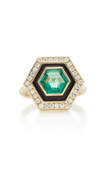 Andrew Glassford Museum Series Emerald 18k Yellow Gold Hexagonal Ring