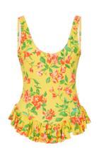 Caroline Constas Tinos Ruffled Floral-print Swimsuit