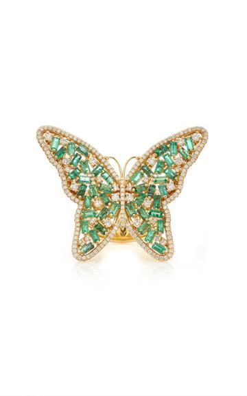 Moda Operandi Suzanne Kalan 18k Yellow Gold Large Emerald Butterfly Ring Size: 4