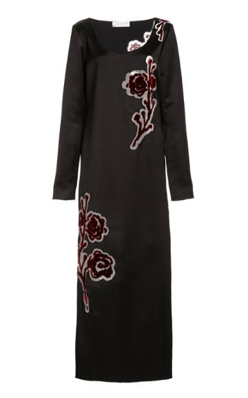 Moda Operandi Marina Moscone Embroidered Satin Midi Dress