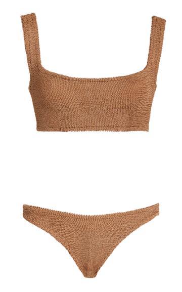 Hunza G Metallic Textured Cropped Bikini