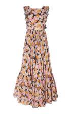 Giambattista Valli Sleeveless Floral Flounce Dress
