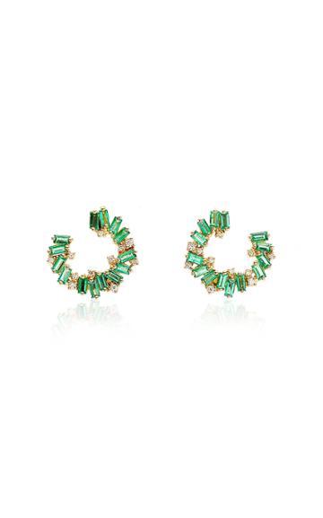 Moda Operandi Suzanne Kalan 18k Yellow Gold Mini Emerald Spiral Hoop Earrings