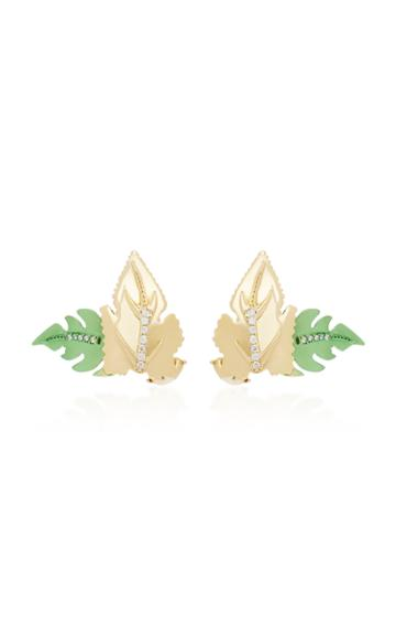 Carol Kauffmann Leaf 18k Gold And Diamond Stud Earrings