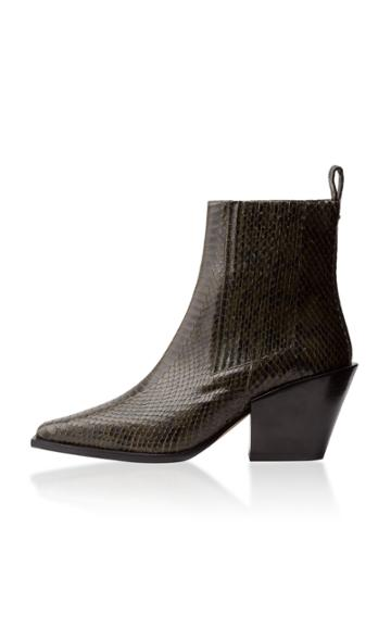 Aeyde Kate Embossed Leather Ankle Boots