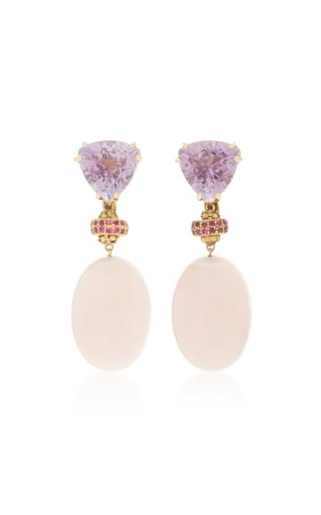 Sorab & Roshi 18k Yellow Gold Amethyst And Pink Opal Dangle Earrings