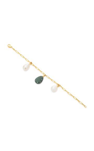 Cvc Stones Mild And Pearl 18k Gold Charm Bracelet