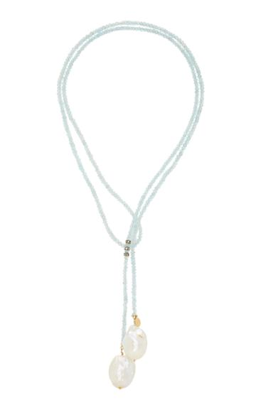 Joie Digiovanni Gold-filled Aquamarine Opal Diamond And Pearl Necklace