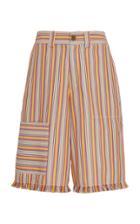 Moda Operandi Monse Striped Frayed Hem Cotton-blend Shorts Size: 0