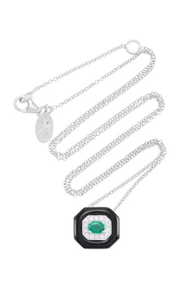 Nikos Koulis Oui Pendant With Emerald Center Pav White Diamonds And Black Enamel