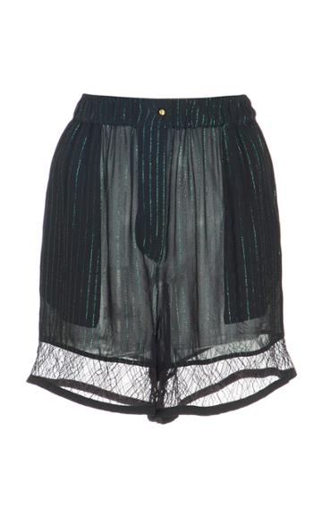 Elie Saab Georgette Shorts With Lace Trim
