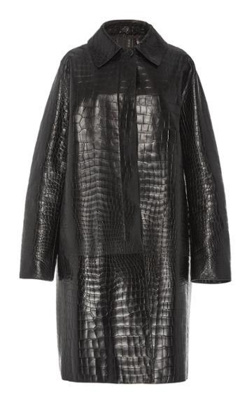 Moda Operandi The Row Eliana Pointed Collar Crocodile Coat Size: 8