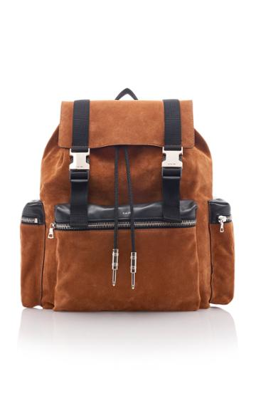 Amiri Leather-trimmed Suede Backpack