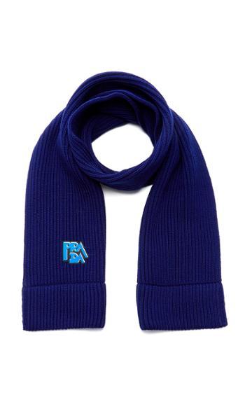 Prada Logo-embroidered Wool Scarf