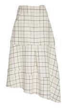 Tibi Checked Asymmetric Twill Skirt