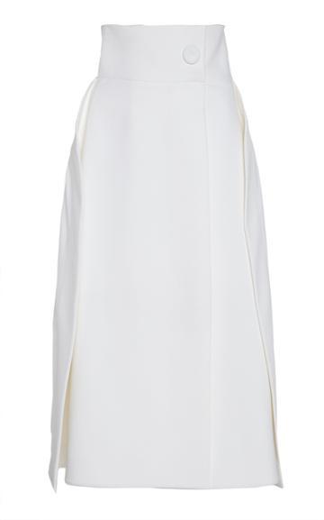 Sara Battaglia Structured Cotton Blend Wrap Skirt