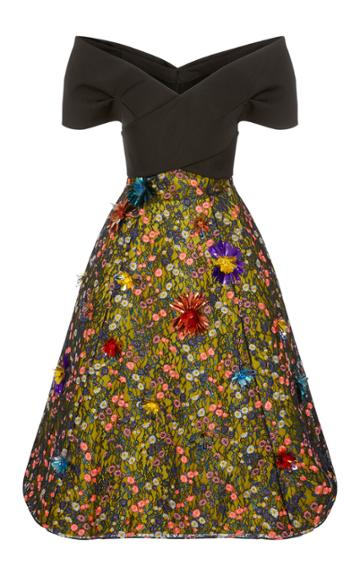 Delpozo Bow Dress With Lace Skirt