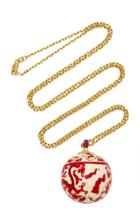 Silvia Furmanovich Marquetry Red Chinese Ball Necklace