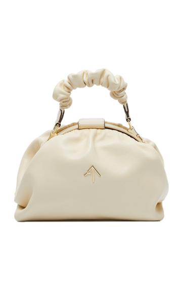 Manu Atelier Demi Ruched Leather Top Handle Bag