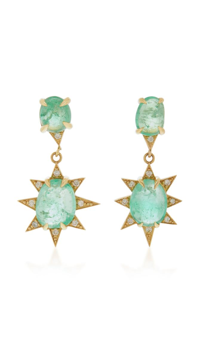 M.spalten 18k Gold, Emerald And Diamond Earrings