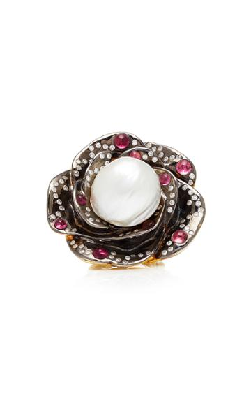 Sylvie Corbelin One-of-a-kind Pearl Flower Ring